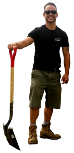 owner shovel image for local lawn care company website london ontario